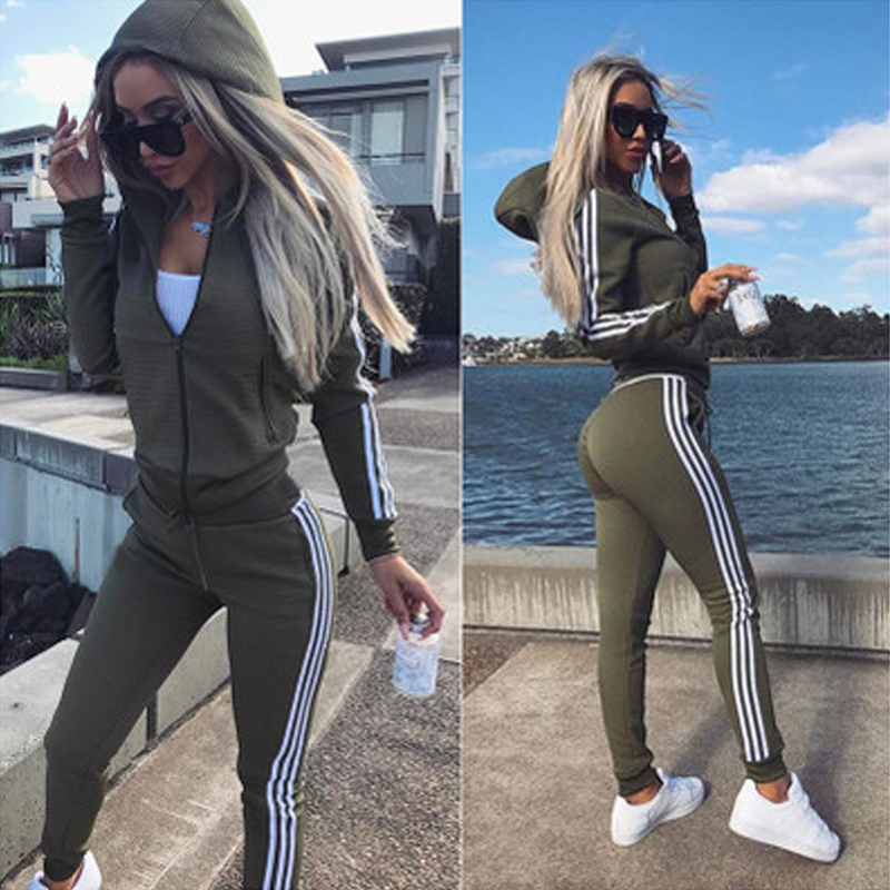 Autumn And Winter Fashion Casual Women's Sports Solid Color Jacket Hooded Pants Two-piece Suit
