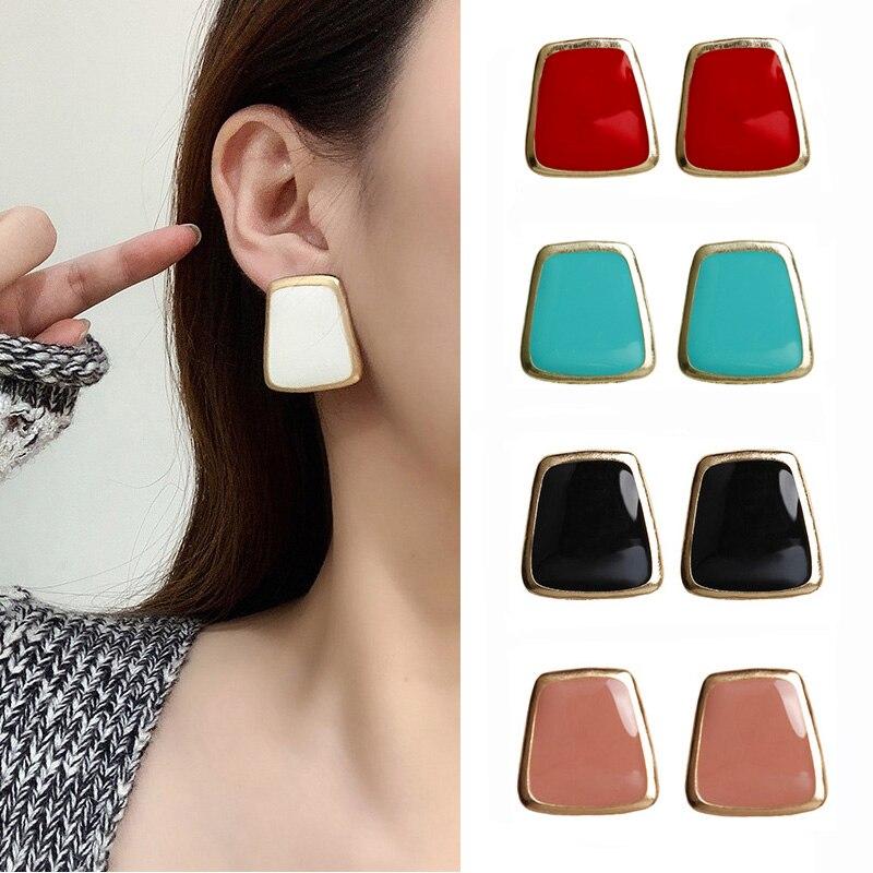 2020 Korean Enamel Big Square Stud Earrings Female Fashion Sweet Crystal Heart Round Earring Wedding Jewelry Romantic Gift