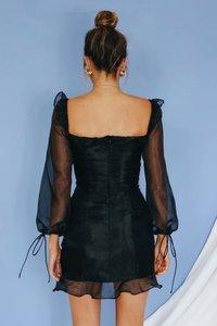 Image 2 - Vintage bandaż plisowana siateczka sukienka kobiety wzburzyć czarny bodycon kobiety sukienka bufiaste rękawy mujer verano 2019 jesień nowości