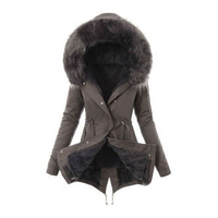 slim jackets coats for women female Solid hoody Thick jacket 2019 winter warm Liner plush zipper fur hooded outwear new