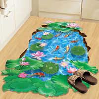3D Lotus Pond Fish Floor Stickers Waterproof Bathroom Shower Living Room Decoration Murals Home Decor Decals Wallpaper Posters