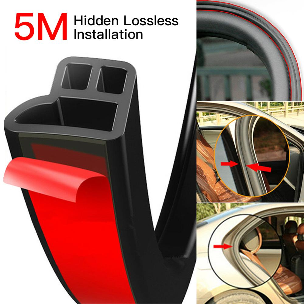 5M L Shape Seal Strip Car Door Hood Trunk Trim Edge Moulding Rubber Weatherstrip Adhesive Stickers Soundproofing Weatherstrip