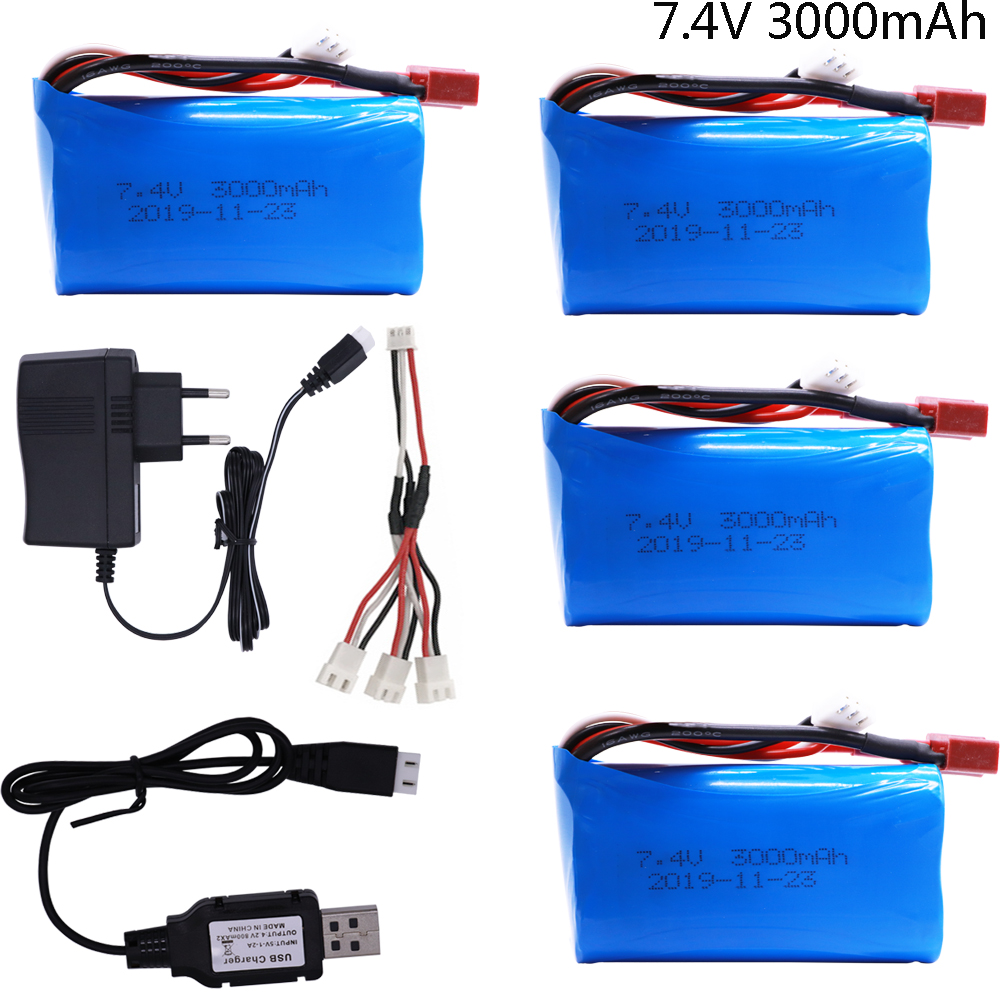<font><b>7.4V</b></font> <font><b>3000MAH</b></font> <font><b>lipo</b></font> <font><b>Battery</b></font> 18650 for Q46 Wltoys 10428 /12428/12423 RC Car Spare Parts with charger <font><b>7.4V</b></font> 2S <font><b>battery</b></font> for toys parts image