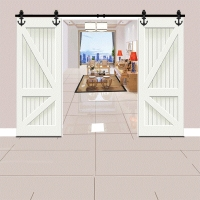 Barn Door Hanging Rail Sliding Door Track Full Set of Accessories Anchor Type Sliding Door Kitchen Hardware for Double Door
