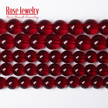Wholesale Smooth Garnet Red Glass Crystal Round Loose Beads 15