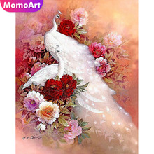 MomoArt Diamond Embroidery Peacock Painting Full Square/round Stones Mosaic Animal Cross Stitch Flowers