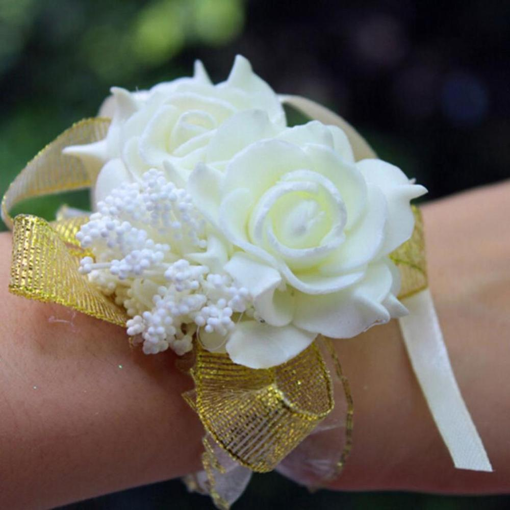 New 2PCS/set Bridal Wrist Corsage Foam Rose Flower Bridesmaid Wrist Corsage Wedding Party Ribbon Bracelet