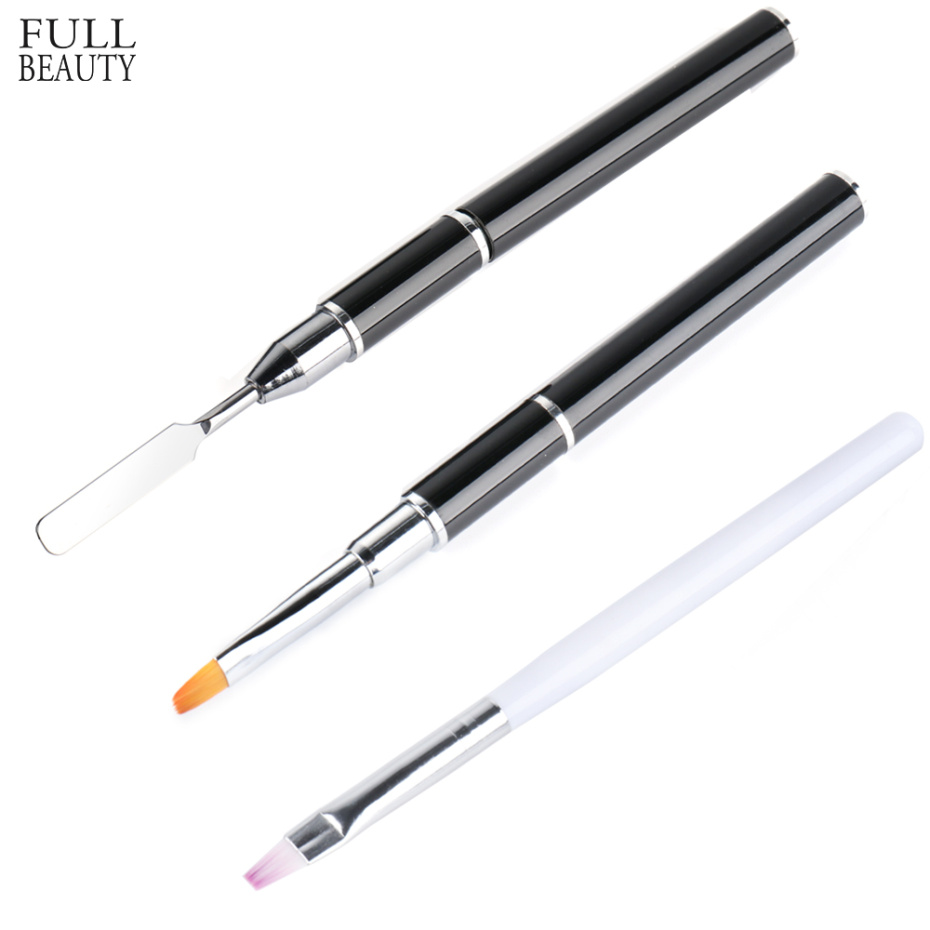 UV Gel Nail Brush Acrylic Nail Art Painting Drawing Brush Phototherapy Pen Peeled Stainless Steel Push Manicure Tools CH1590