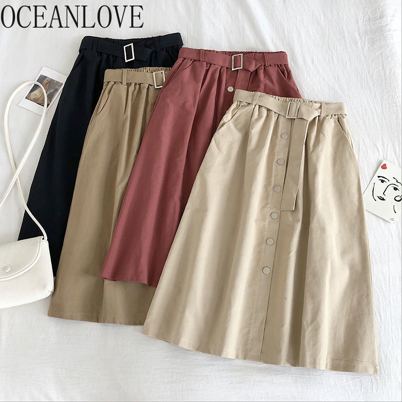 OCEANLOVE Solid Button 2020 Spring Summer Women Skirts High Waist Elegant Faldas New A-line Korean Student Long Skirt 14717