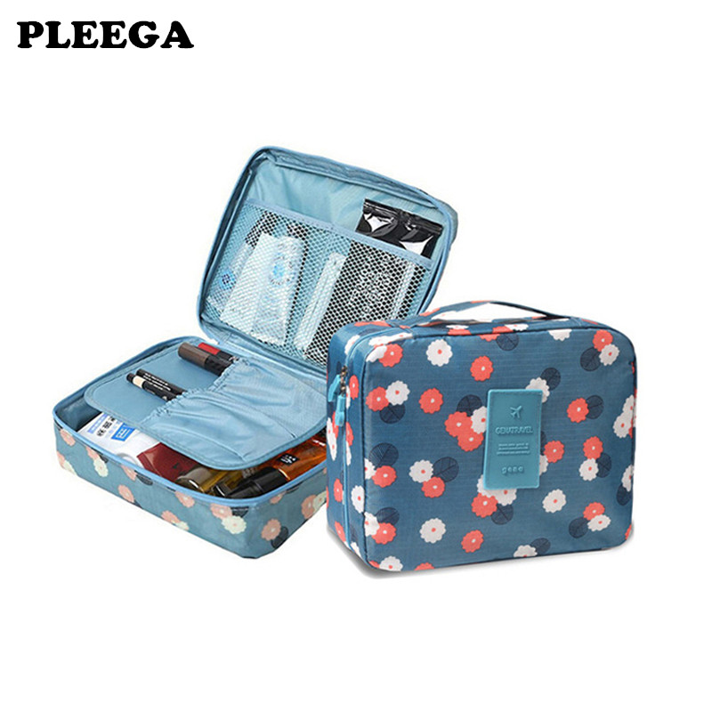 PLEEGA Outdoor Girl Makeup Bag Women Cosmetic Bag Wash Toiletry Make Up Organizer Storage Travel Kit Bag Multi Pocket Ladies Bag