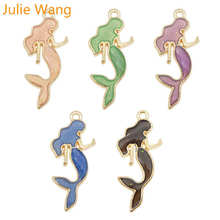 Julie Wang 5PCS Enamel Mermaid Princess Charms Multicolor Gold Tone Bracelet Necklace Alloy Jewelry Making Accessory julie wang 10pcs enamel mermaid whale fish tail charms mixed colors gold tone bracelet necklace alloy jewelry making accessory