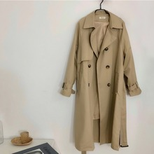 Mooirue Long Trench Coat For Women With Sashes Vintage Korean Style Streetwear Loose Button Harajuku Khaki Cardigan