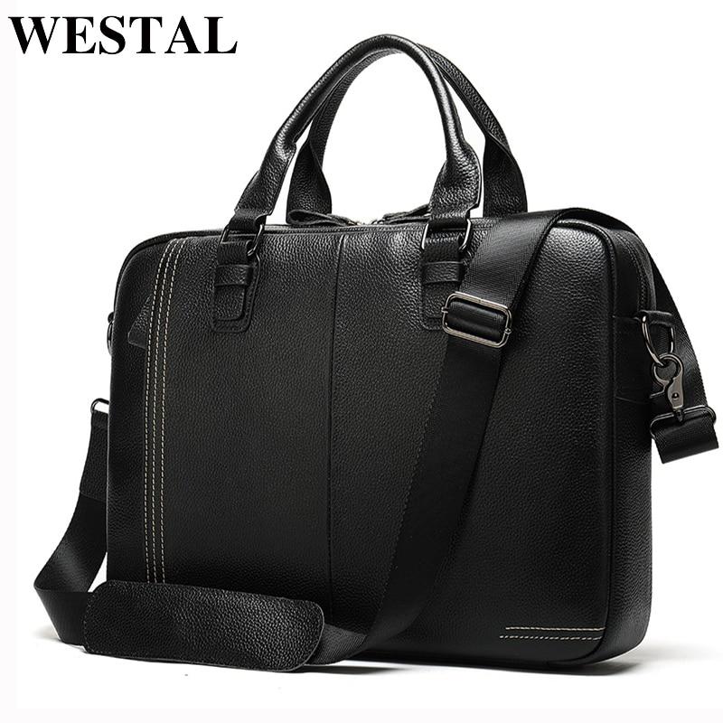 WESTAL Men's Briefcase Bag Men's Genuine Leather Laptop Bag For Men Porte Document Office Bags For Men Business Handbags 7001