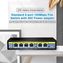 6 Port Ethernet Switch 48V 96W Mit 4 Port POE + 2 UPlinks 100 Mbps Schalter interne Backplane Bandbreite 1,2G Full duplex