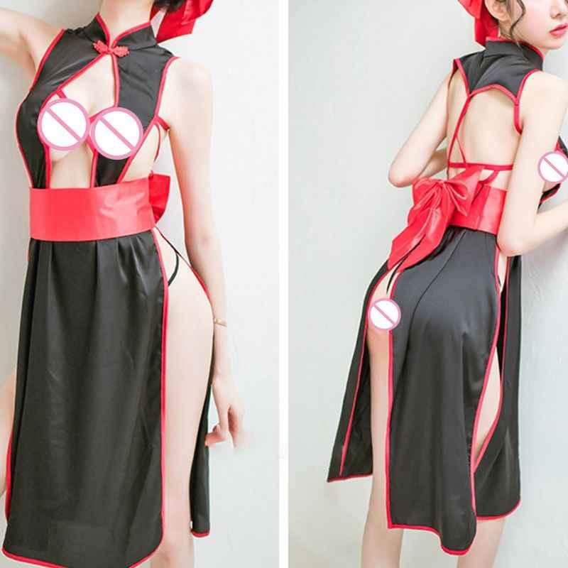 Sexy para mujer de lado alto Cheongsam abierto pecho Bodycon vestido Porno Lencería Babydoll erótico traje de Club