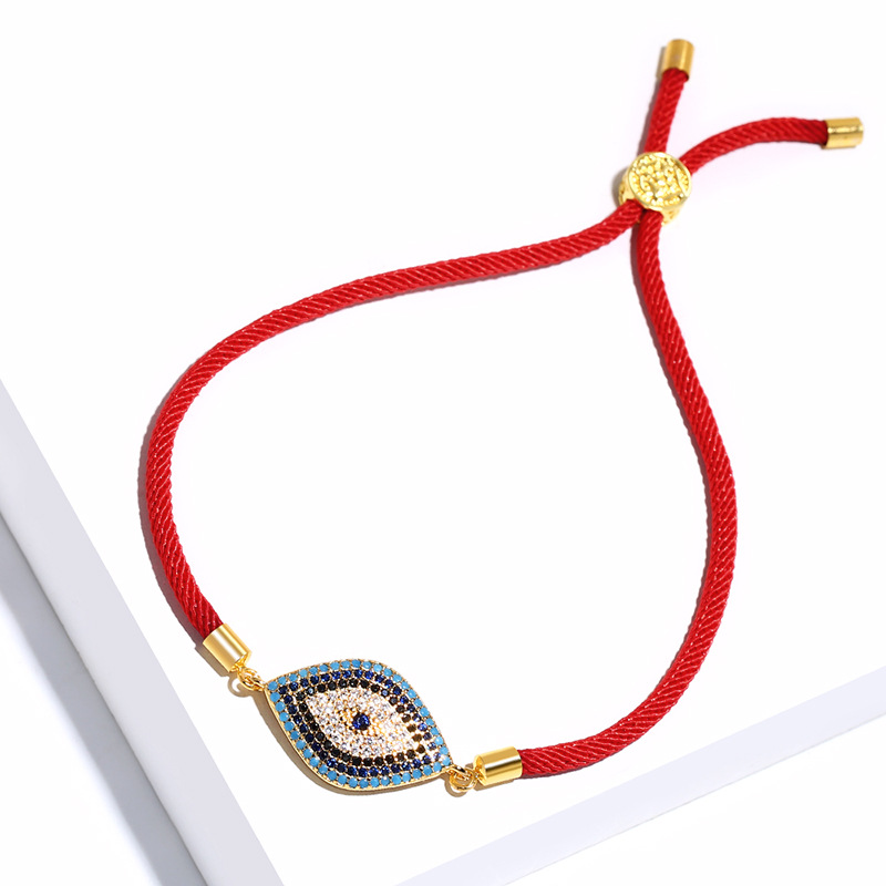 Lucky Red String Stretch Evil Eye <font><b>Bracelet</b></font> Paved CZ Stone Turkish Horus <font><b>Adjust</b></font> <font><b>Bracelets</b></font> <font><b>Unisex</b></font> Jewelry Pulseras Niña image