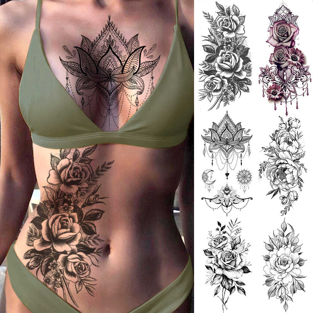 Purple Rose Jewelry Water Transfer Tattoo Stickers Women Body Chest Art Temporary Tattoo Girl Waist Bracelet Flash Tatoos Flower