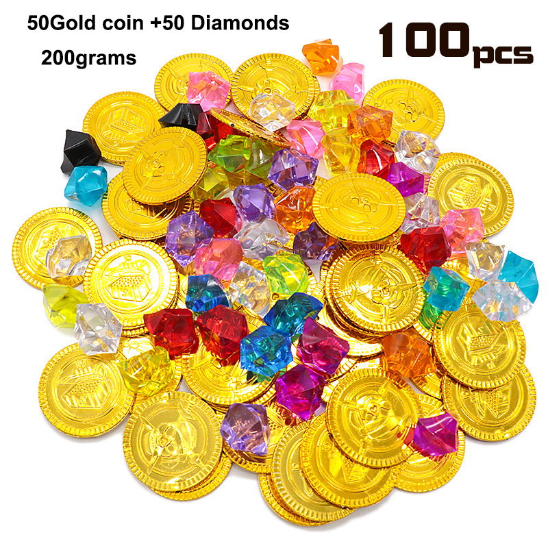 Lot <font><b>X</b></font> 100pcs A PACK Pirate Props <font><b>Treasure</b></font> Playset Gems <font><b>Toys</b></font> Gold Coins Jewelry for Pirate Party Game image