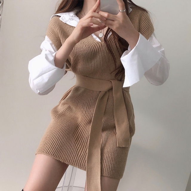 RICININA Knitted Vest Women Sweater Sleeveless V Neck Sashes Bandage Solid Elegant Sweaters Women Pullovers Jumpers Woman 2020 6