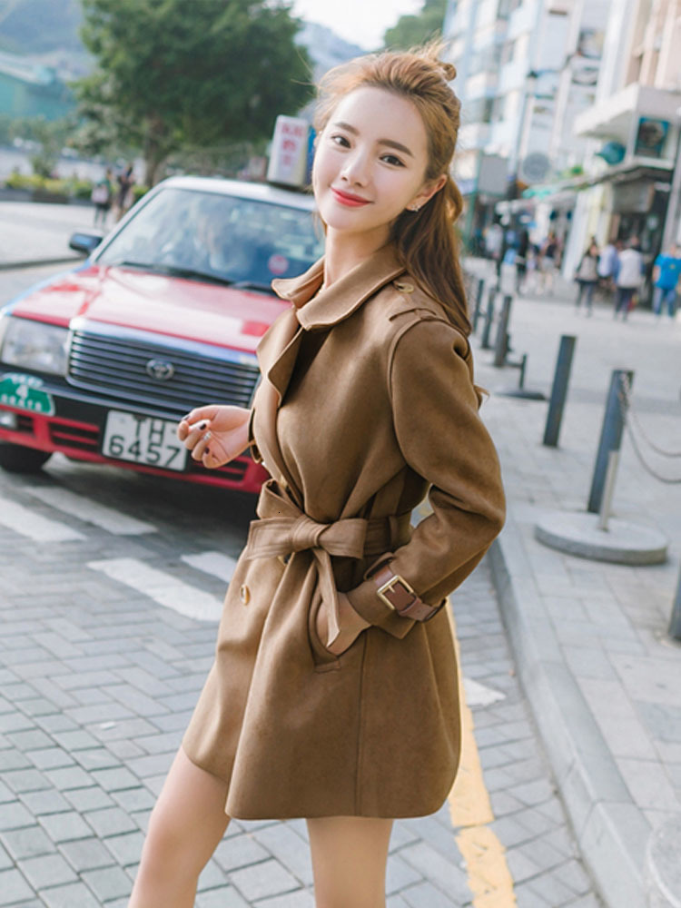Autumn Spring Long Faux   Leather     Suede   Coat Women Plus Size Fall Ladies Korean Brown Khaki Fashion Faux   Suede   Trench Clothes