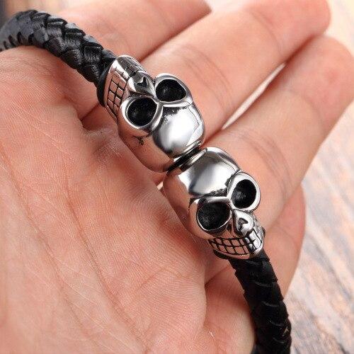 Bracelet viking en cuir véritable corde fermoir magnétique  5