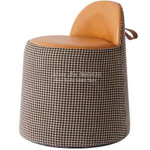 Taburete de tocador de cuero de calidad nórdica taburete otomano Cambio de calidad elegante zapatos pequeño sofá para adultos y niños
