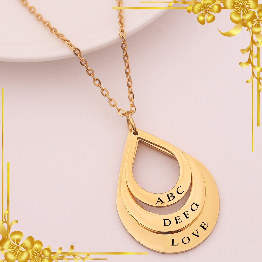 Mother's day gift engraved drop shaped family necklace