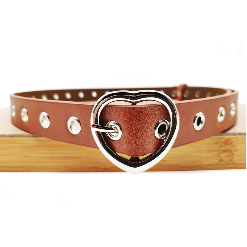 Heart Shaped Ladies Belt Faux Leather Pin Buckle Metal Round Narrow Wide Female Belts Wild Decorative Corns Style Ladies Belt