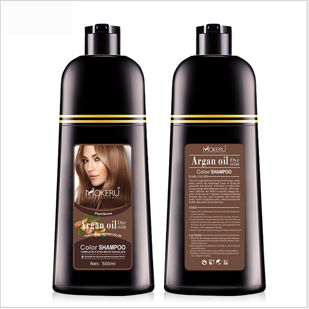 500ml Natural Argan Oil Essence Instant Hair Dye Shampoo Instant Hair Color Cream Cover Permanent Hair Coloring Shampoo Women image