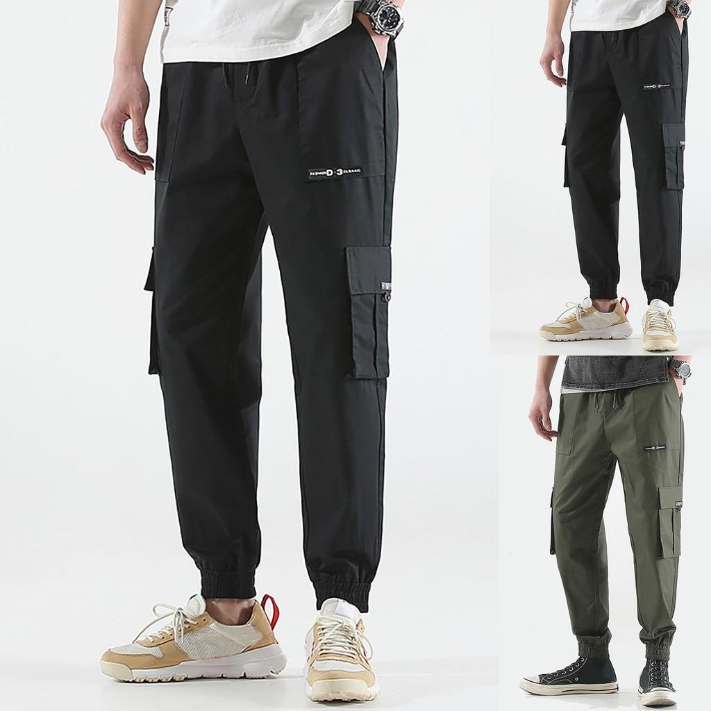 Pantalones Trousers Multi-Pocket Mens Fashion Spring Retro GH50 Antumn Hombre Solid-Color