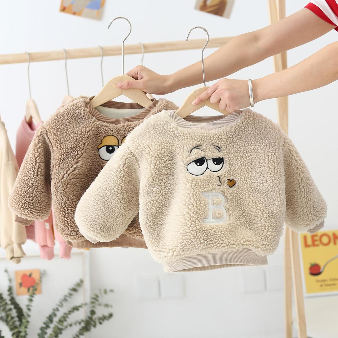 WLG/зимние топы для девочек; Детские плотные бархатные толстовки с капюшоном бежевого и кофейного цвета; Теплая Повседневная одежда для