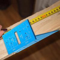 목공 내마 모성 통치자 각도기 스퀘어 레이아웃 45 + 90도 미터법 측정 손 도구 각도기 도구 -