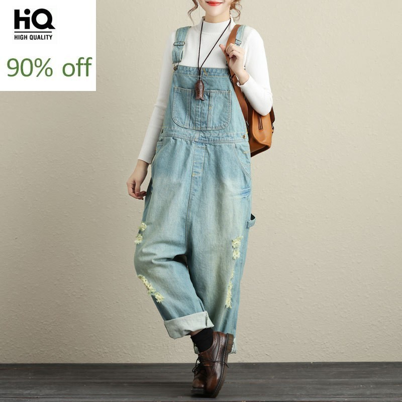 Classic Ripped Light Blue Denim Overalls For Women Casual Loose Rompers Womens Jumpsuit Plus Size Wide Leg Pockets Baggy Pants