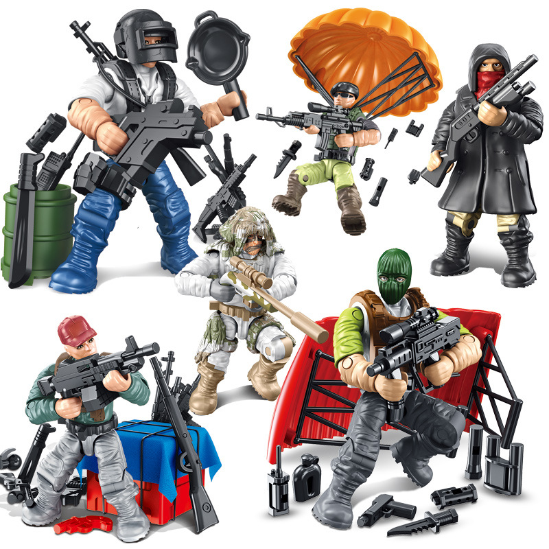Assembly of building blocks, dolls, ornaments, soldiers, human models, mini scenes, building blocks, accessories package