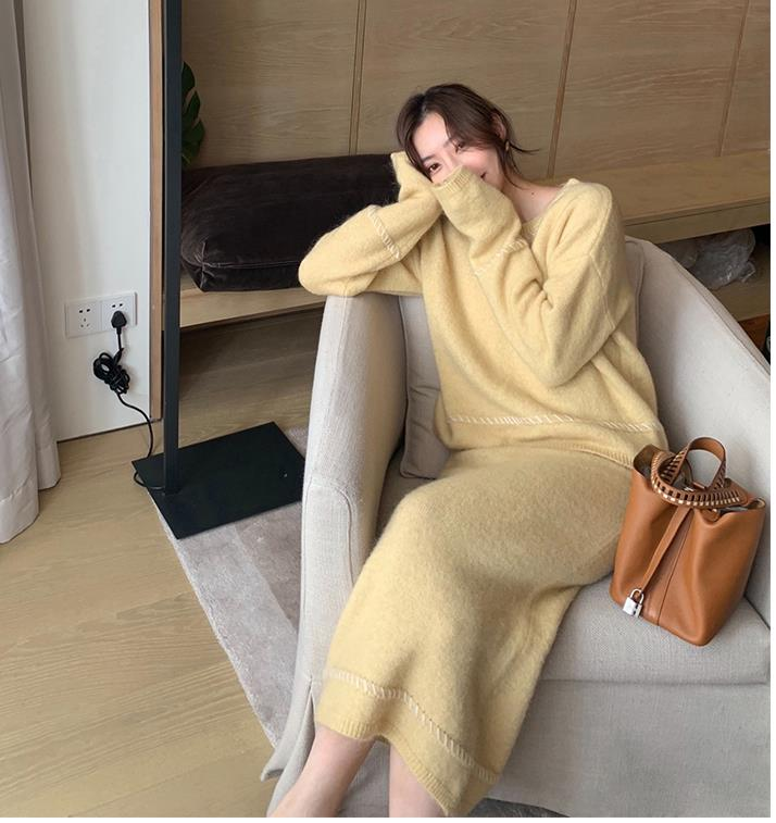 Elegant Ladies Solid Cashmere Sweater Skirt 2 Piece Set Women Fashion O Neck Long Sleeve Knitted Pullovers Skirt Suits Winter