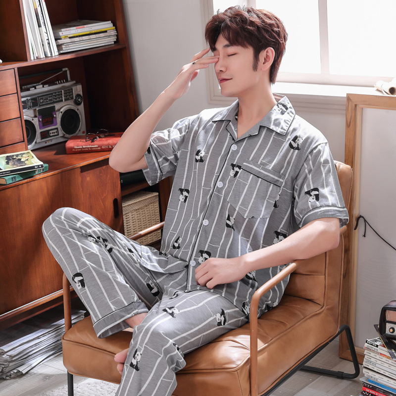 Pajamas Men Summer Cotton Short Sleeve Trousers Tracksuit Summer Thin Casual Plus-sized Set 2910