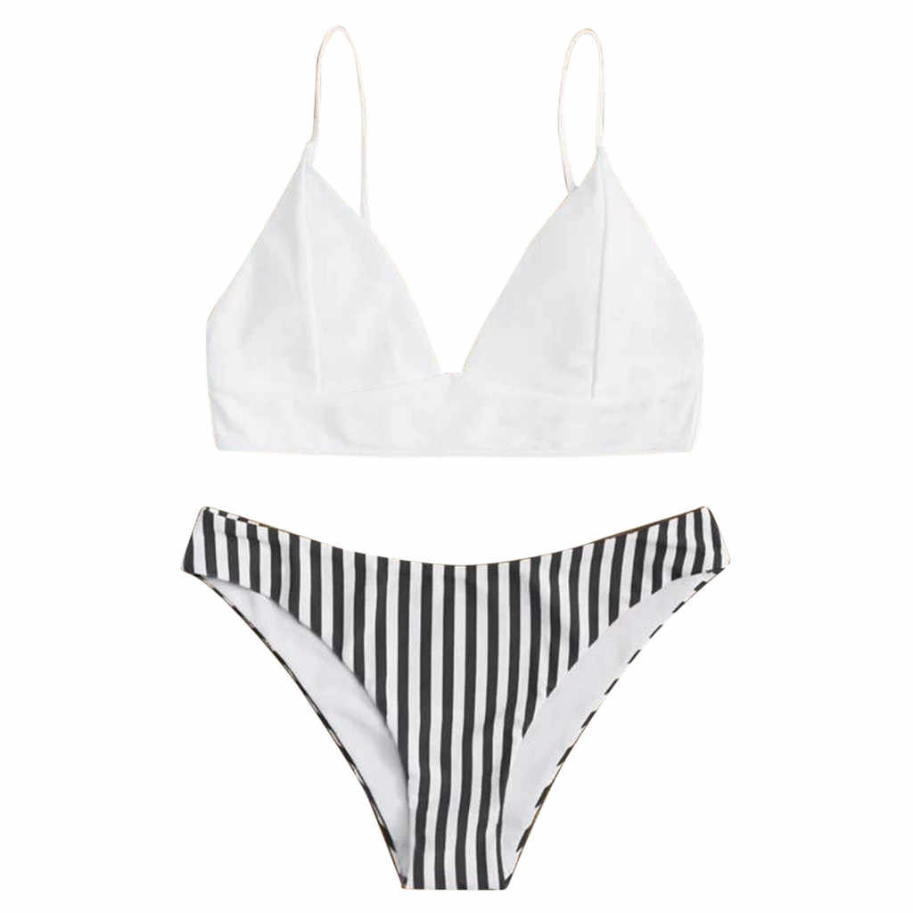 Sagace Bikini Set 2020 Push Up Baju Renang Wanita Retro Merajut Cetak Bikini Renda Up Halter Split Swimsuit Set Beachwear