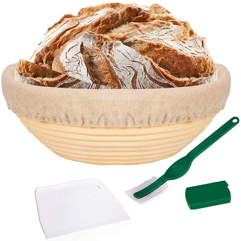 Panier à pain de HHO-10 pouces-panier d'épreuve Banneton + doublure en tissu + grattoir à pâte + Lame à pain-ensemble de panier au levain F