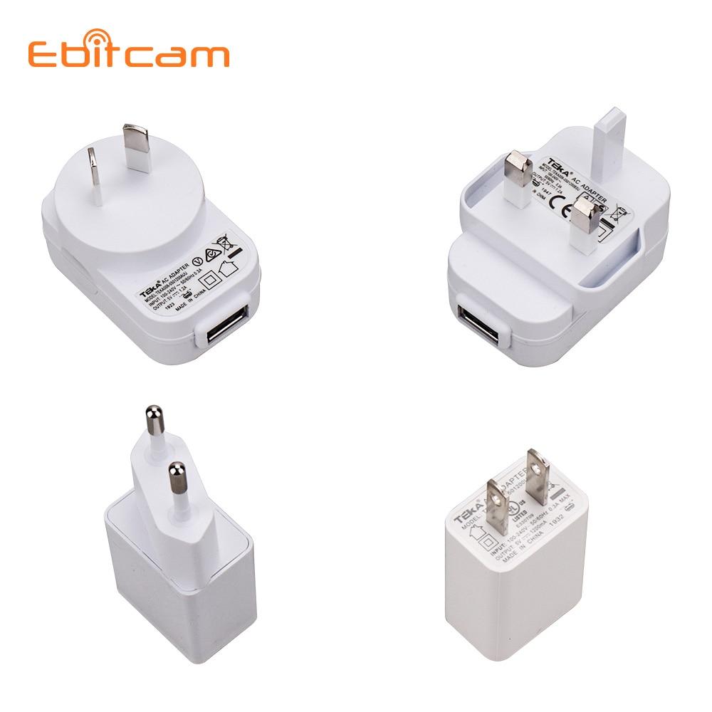 Ebitcam USB Power Supply 5V 1.2A Power Charger EU / US / AU / UK USB Power Adapter For Cloud IP Camera