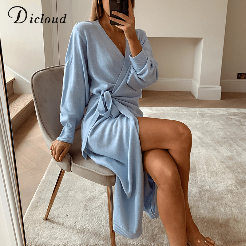DICLOUD Long Women Knitted Wrap Dress Spring Oversize Elegant Day Midi Dress Sexy V Neck Knitwear Robe 2021 Ladies Clothes