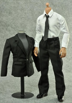 1/6 scale Black suit trourses shirt belt clothing set for 12in action figure male soldier accessories toy