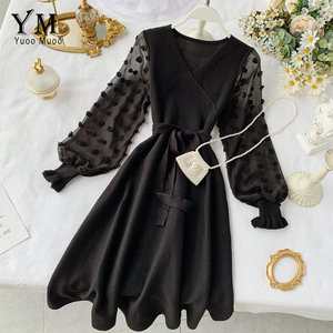 Image 3 - YuooMuoo Romantic Women Knitted Pink Party Dress 2020 Fall Winter V Neck Elegant Chiffon Long Sleeve Sashes Dress Ladies Dress