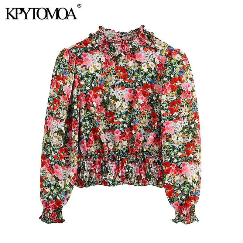 KPYTOMOA Women 2020 Fashion Floral Print Cropped Blouses Vintage High Collar Puff Sleeve Elastic Cuffs Female Shirts Chic Tops