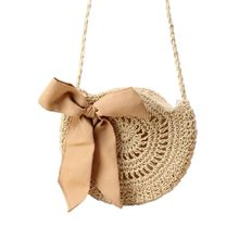 Special Style Women Fashion Bowknot Straw Handbags Summer Beach Tote Woven Round Shoulder Bag