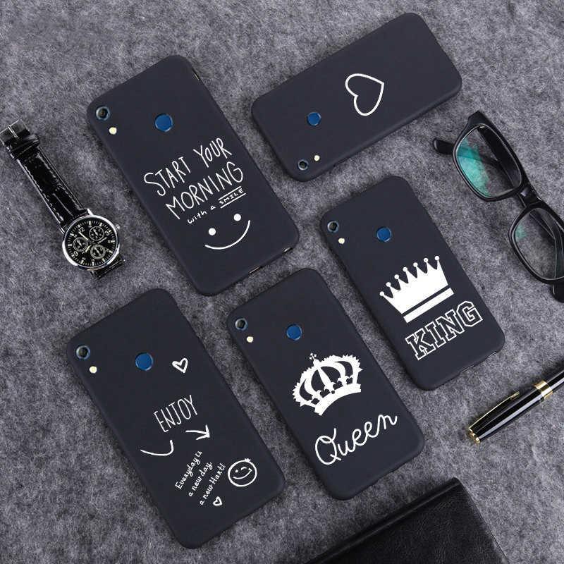 Funda Simple negra mate para Huawei Honor 8 9 8X10 10 Lite P20 30 30Lite línea de arte cubierta divertida del teléfono de las citas de moda estampada