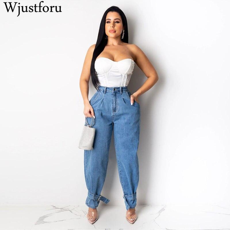 Wjustforu Plus Size Loose Wide Leg Jeans For Women Beam Foot Casual Straight Jeans Female Blue Fashion Denim Jean Pants Vestidos