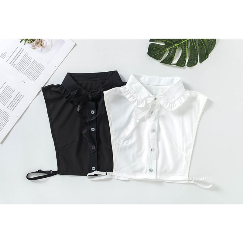 Women Pleated Ruffles Lapel Fake Collar Lace Ribbon Bow Tie Chiffon Half-Shirt Y5GC