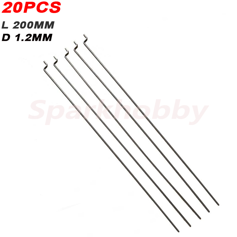20PCS Sparkhobby Z-type Steering Gear Lever Diameter 1.2mm Length 20cm Stainless Steel Pull Rod Servo Lever For RC Airplane Part