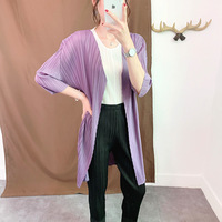 Plus Size Cardigan Women Summer 2019 New Miyake Pleated Long Coat Solid Color Loose V Neck Three Quarter Sleeve Cardigans