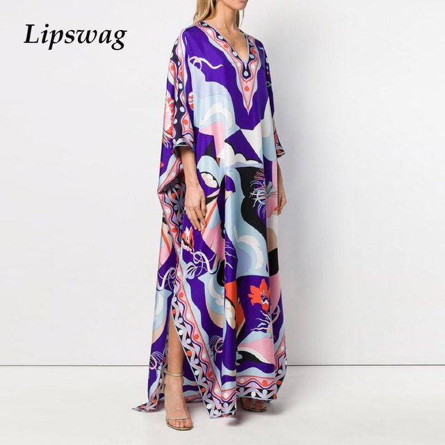 Retro Floral Print Elegant Maxi Dress Women 2021 Summer V-Neck Loose Long Boho Dresses Casual Female Split Dress Ladies Vestidos 1